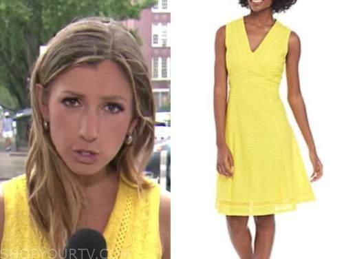alex hogan, yellow eyelet dress, america's newsroom
