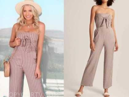 emily ferguson, the bachelor, striped tie front jumpsuit