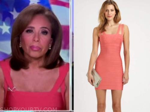 judge jeanine pirro, justice with judge jeanine, coral bandage dress
