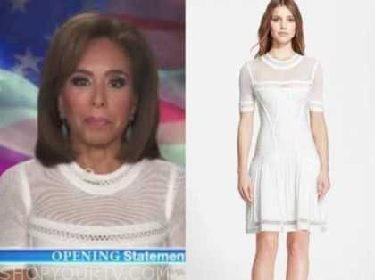 judge jeanine pirro, justice with judge jeanine, white bandage mesh dress