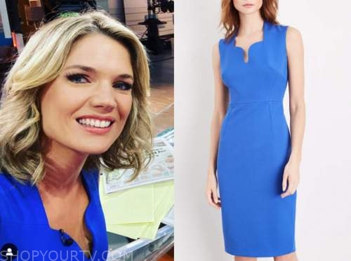 charlotte hawkins, blue scallop sheath dress, good morning britain