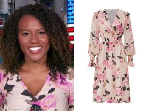 janai norman, good morning america, pink floral ruffle dress