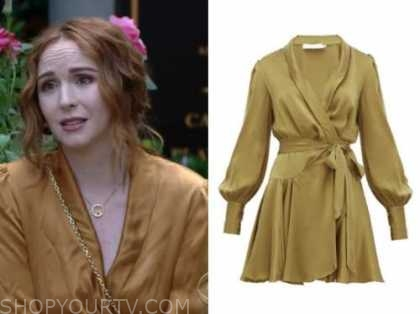 mariah copeland, the young and the restless, gold silk wrap dress