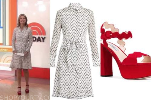 savannah guthrie, cherry print dress, red scallop sandals, the today show