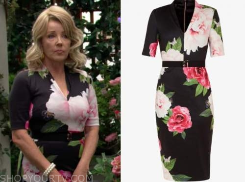 the young and the restless, nikki newman, melody thomas scott, black floral dress