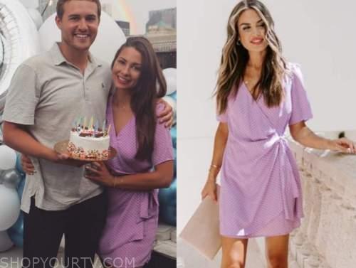 kelley flannagan, the bachelor, purple wrap polka dot dress