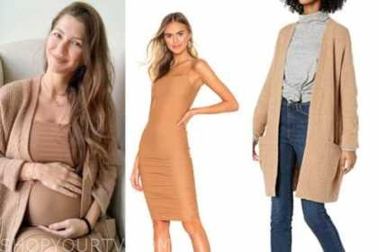 ashlee frazier, the bachelor, tan dress and camel cardigan
