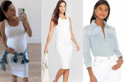 ashlee frazier, white maternity dress, denim shirt, the bachelor