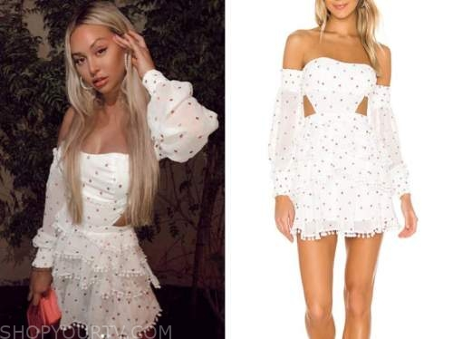 corinne olympios, the bachelor, white dot off-the-shoulder dress