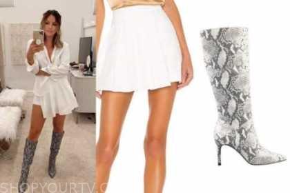 becca tilley, the bachelor, white pleated skirt, snakeskin boots