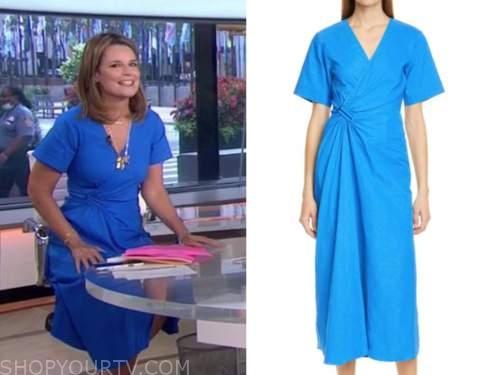 savannah guthrie, the today show, blue wrap midi dress