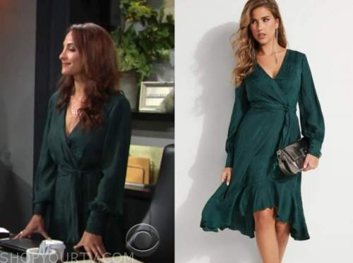 lily winters ashby, the young and the restless, christel khalil, green snakeskin dress