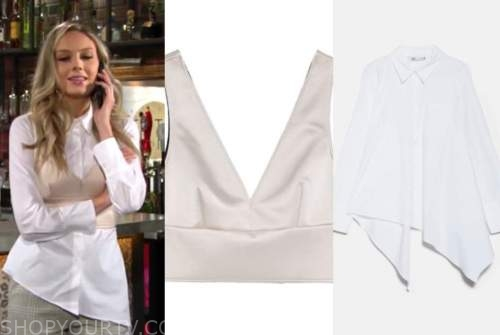 abby newman, melissa ordway, the young and the restless, white asymmetric shirt, satin crop top