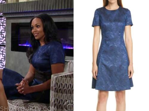 amanda sinclair, mishael morgan, the young and the restless, blue jacquard dress