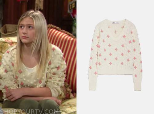 faith newman, pom pom sweater, the young and the restless