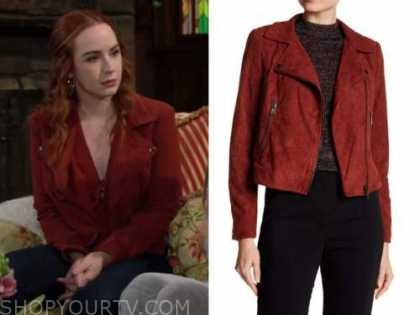 mariah copeland, camryn grimes, the young and the restless, red suede moto jacket