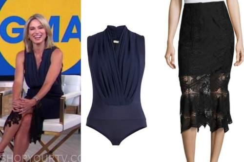 good morning america, navy blue bodysuit, black lace skirt, amy robach