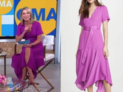 amy robach, purple wrap midi dress, good morning america