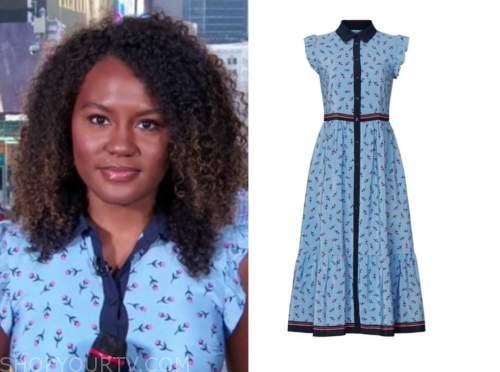janai norman, good morning america, blue floral shirt dress