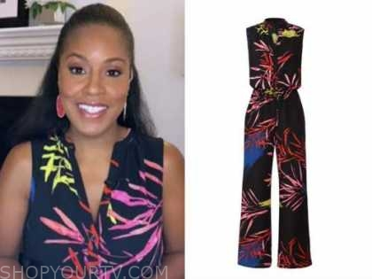 sheinelle jones, the today show, leaf print jumpsuit