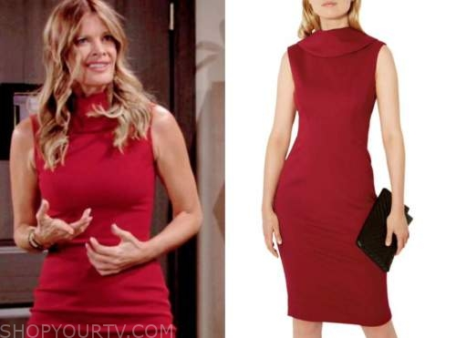 phyllis newman, michelle stafford, the young and the restless, red sheath dress