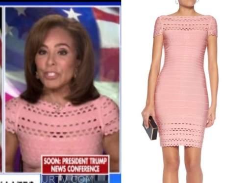 judge jeanine pirro, the five, pink bandage cutout dress