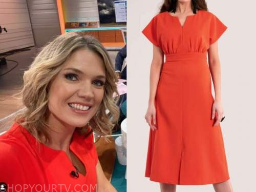 charlotte hawkins, good morning britain, red dress