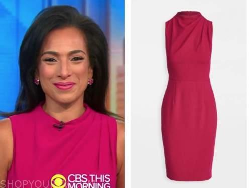 michelle miller, cbs this morning, hot pink sheath dress