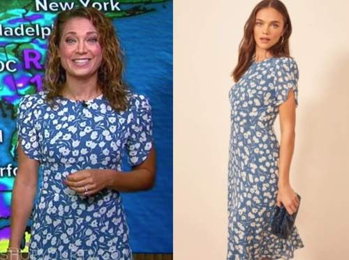 ginger zee, blue and white floral dress, good morning america