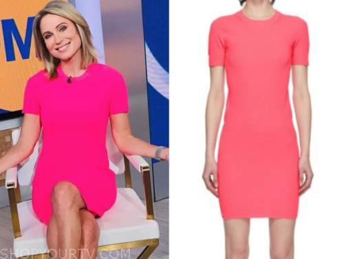 amy robach, hot pink knit dress, good morning america