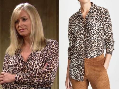 ashley abbott, eileen davidson, leopard shirt, the young and the restless