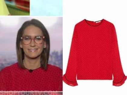 jessica tarlov, outnumbered, red polka dot blouse