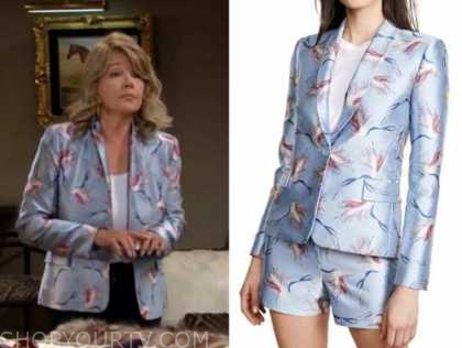 nikki newman, the young and the restless, blue bird print jacket