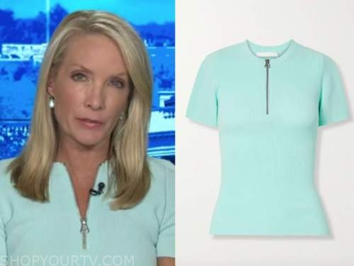 dana perino, the daily briefing, blue knit zipper short sleeve sweater