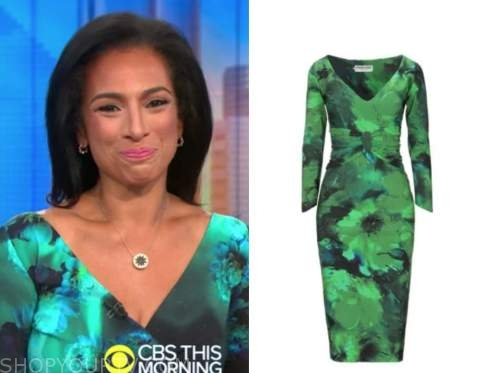 michelle miller, cbs this morning, green printed dress