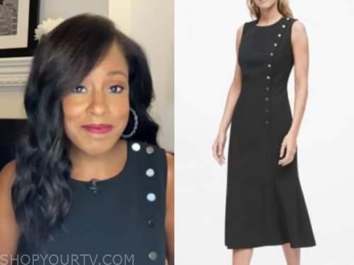 sheinelle jones, the today show, black button midi dress