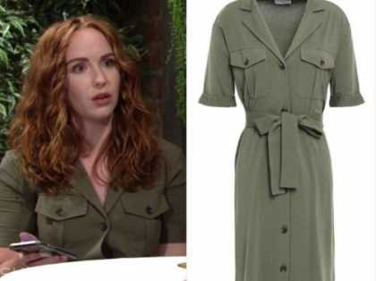 the young and the restless, mariah copeland, camryn grimes, green shirt dress