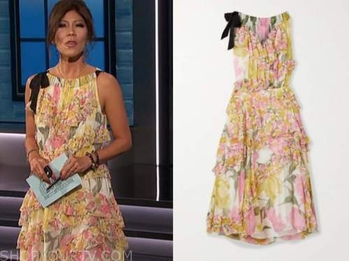 julie chen, big brother all stars, floral tie neck dress
