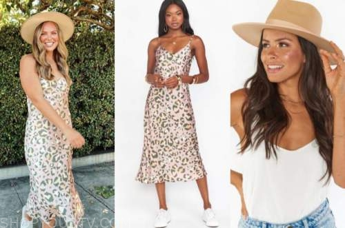 hannah brown, the bachelorette, leopard midi dress, tan hat