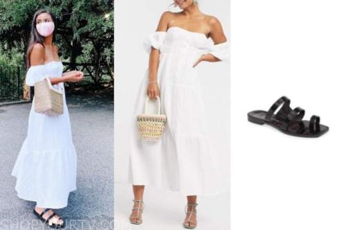 caila quinn, the bachelor, white maxi dress, black sandals