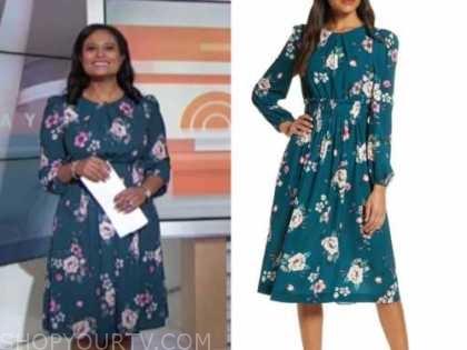kristen welker, the today show, green floral midi dress