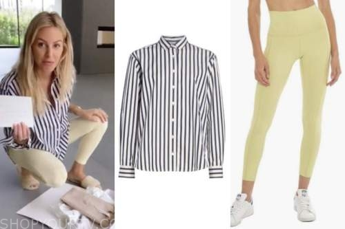 morgan stewart, E! news, striped shirt, yellow leggings