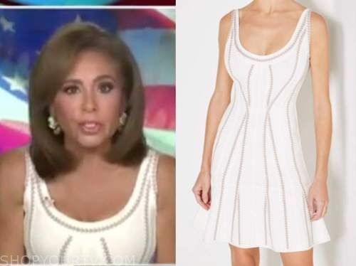 justice with judge jeanine, judge jeanine pirro, white bandage dress