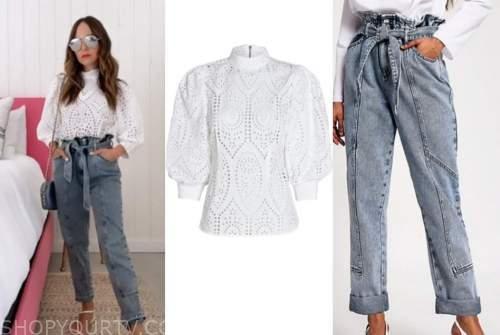 lilliana vazquez, white eyelet top, paperbag jeans