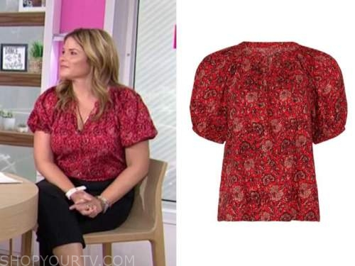 jenna bush hager, the today show, red printed top