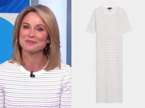 amy robach, good morning america, white striped knit midi dress