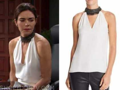 victoria newman, amelia heinle, the young and the restless, black and white embellished neck top