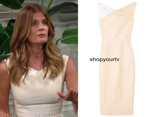 phyllis newman, michelle stafford, the young and the restless, beige and white sheath dress