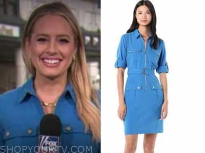 Jacqui Heinrich, the daily briefing, blue utility dress