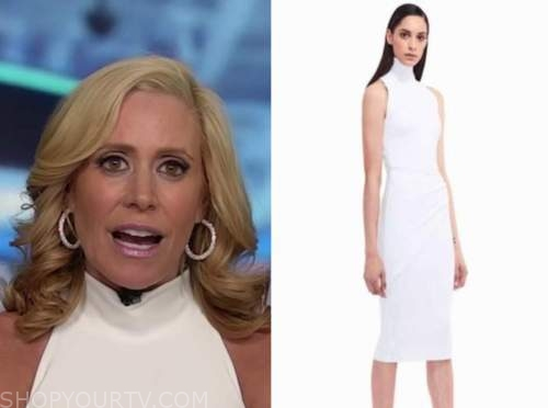 melissa francis, outnumbered, white mock neck sheath dress